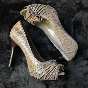 Moda Spana Faux Snake Skin Leather High Heels 6